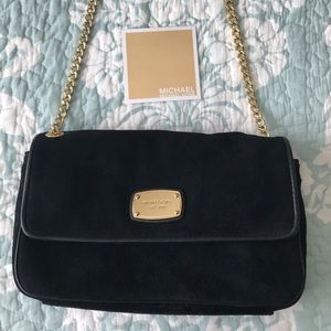 NWT Michael Kors Suede Gold Chain Crossbody